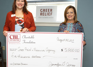 CBL Charitable Foundation Donates $5,000 To Greer Relief & Resources Agency
