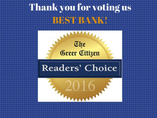 We're Honored to Be Voted Best Bank in Greer!