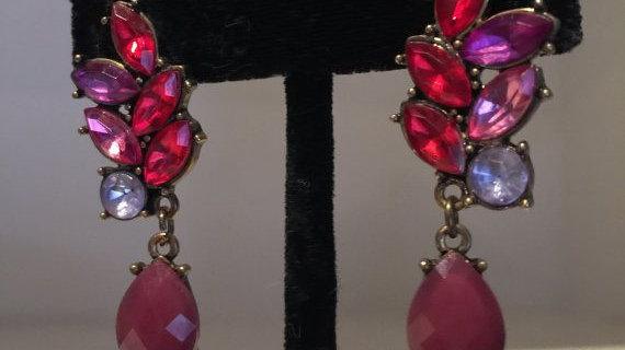 Fiery Red and Purple Earrings