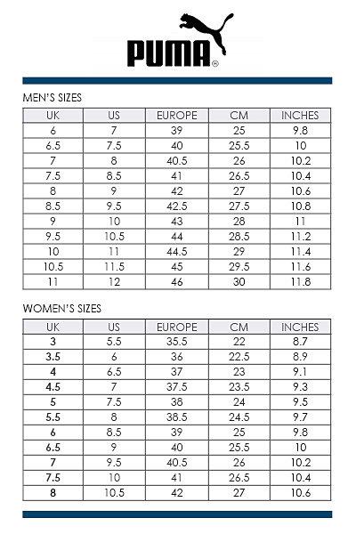 puma suede size chart