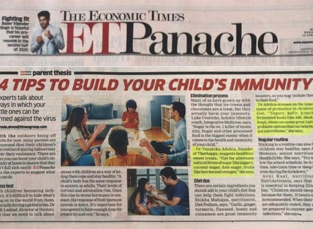 Economic Times Panache: Feature on Tips to Build Immunity in Children