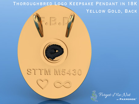 Thoroughbred Logo Keepsake Pendant in 18K Yellow Gold, Back