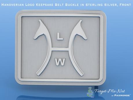 Hanoverian Logo Keepsake Belt Buckle in Sterling Silver, Front