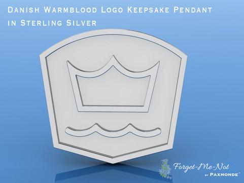 Danish Warmblood Logo Keepsake Pendant in Sterling Silver