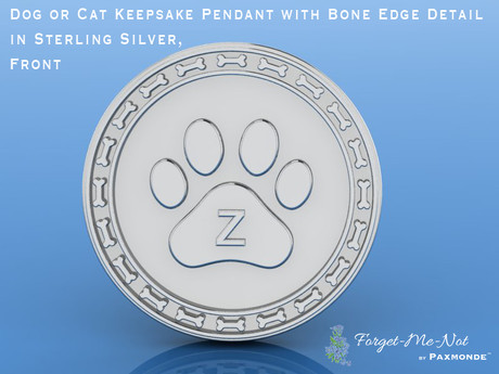 Dog or Cat Keepsake Pendant with Bone Edge Detail in Sterling Silver, Front