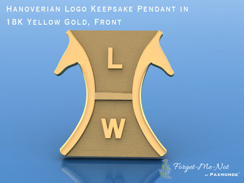 Hanoverian Logo Keepsake Pendant in 18K Yellow Gold, Front