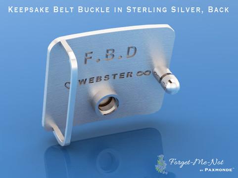 Keepsake Belt Buckle in Sterling Silver, Back
