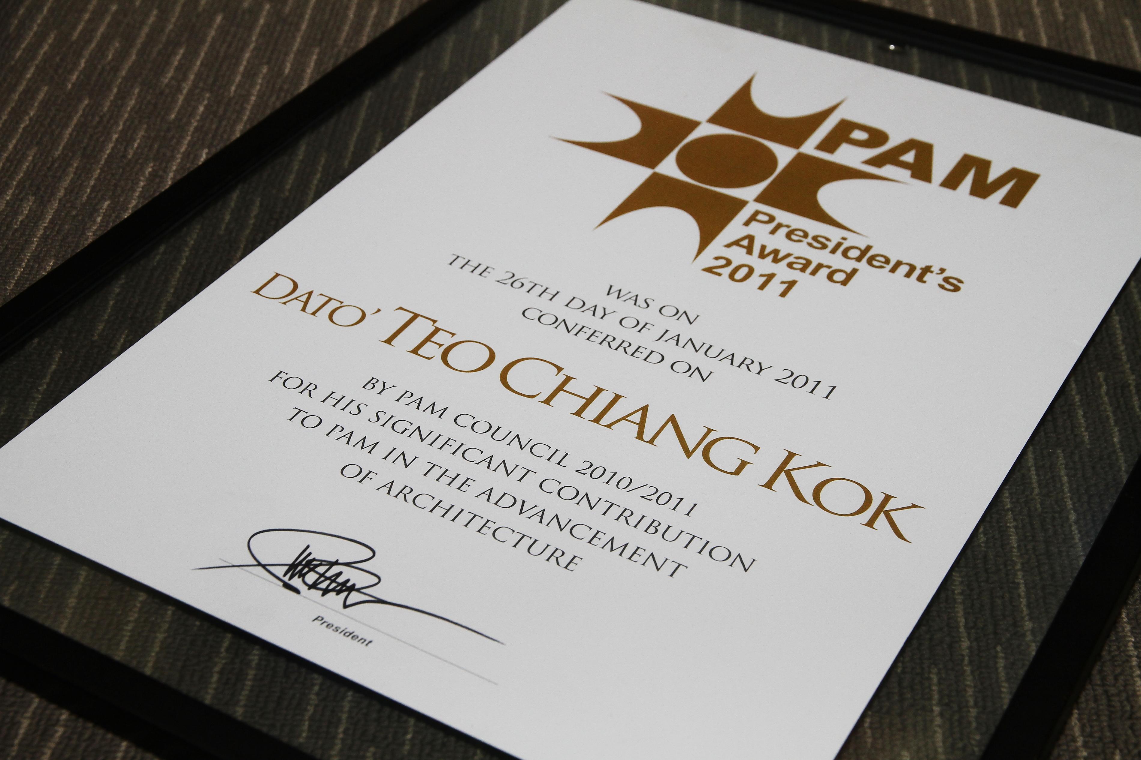 PAM President award certificate