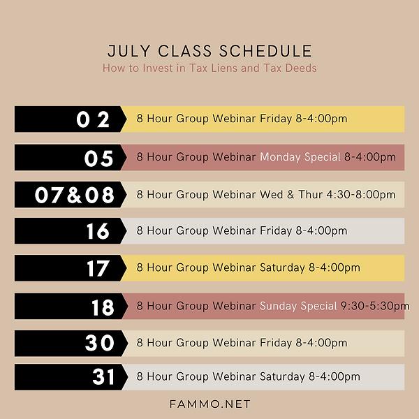 July Class Schedule 2021