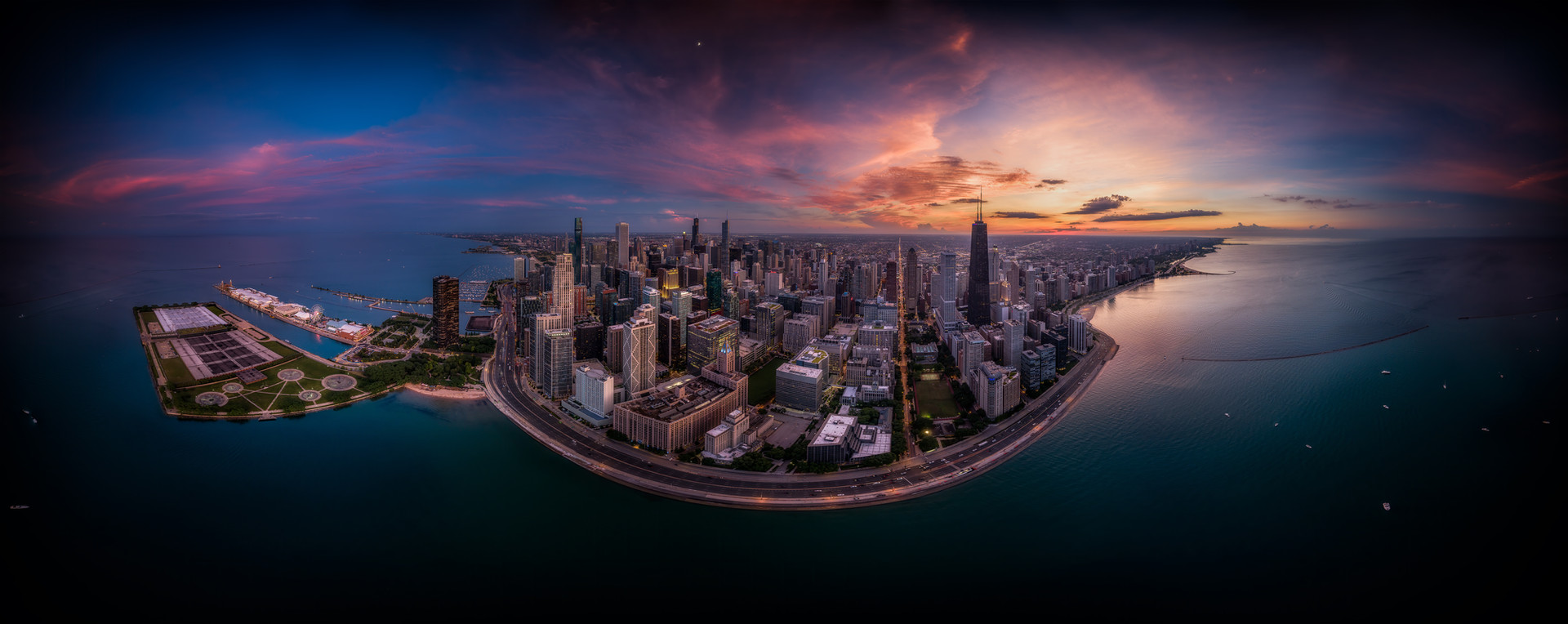 ChicagoDroneSaharaDustCloudSunset3602020