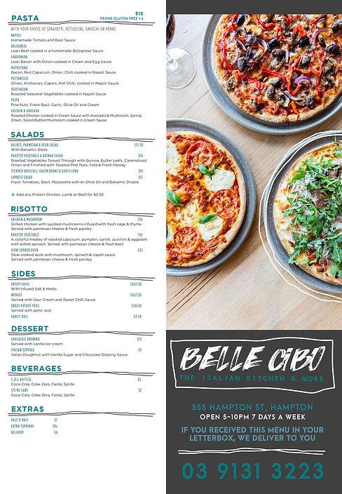 Belle Cibo - Takeaway menu without addre