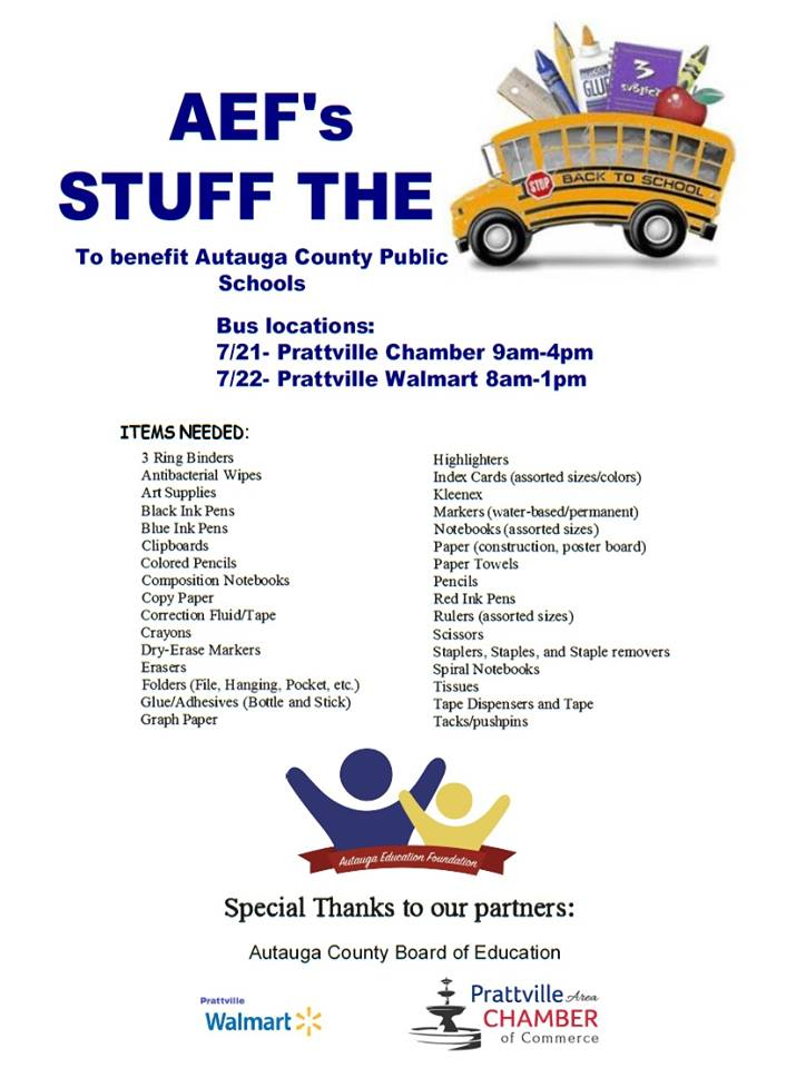 Autauga Education Foundation To Host Stuff The Bus Campaign July