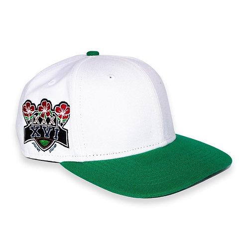 JJGRANT White Double Patch Snap back cap