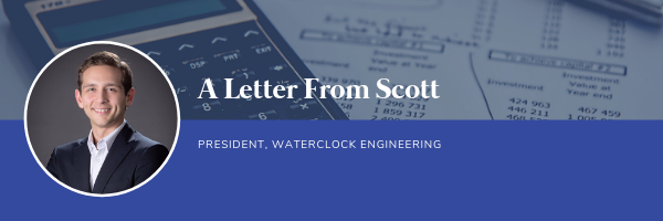 A letter from Scott, President, Waterclock Engineering