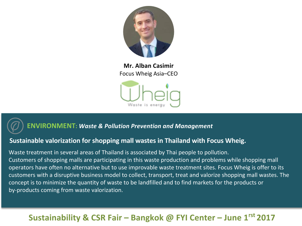 Sustainable valorization for shopping mall wastes in Thailand with Focus Wheig.