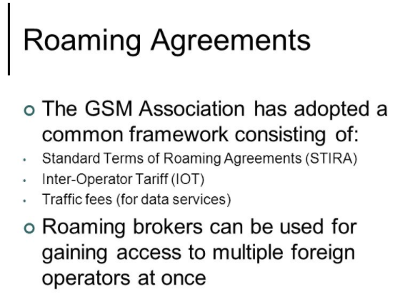 Roaming agreements on carrier networks