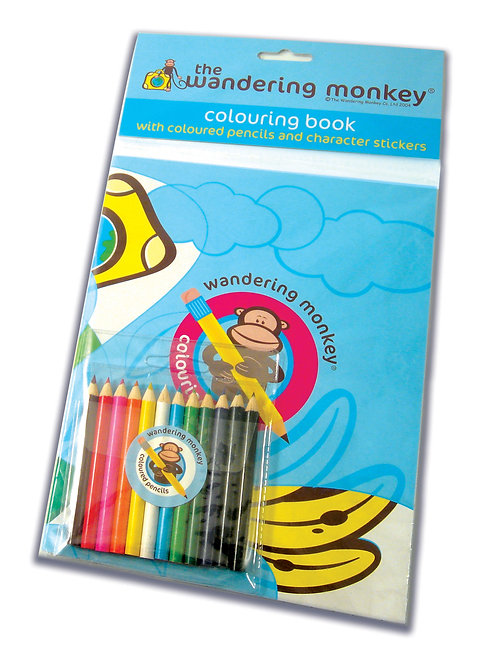 Wandering Monkey Colouring Book & Coloured pencils