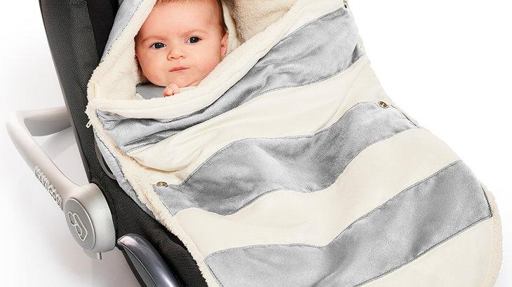 Wallaboo Newborn Footmuff - Silver stripe