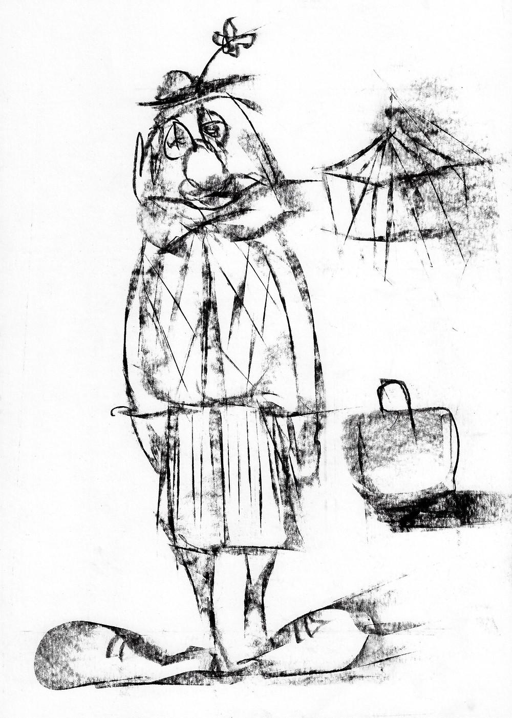 Original charcoal drawing.