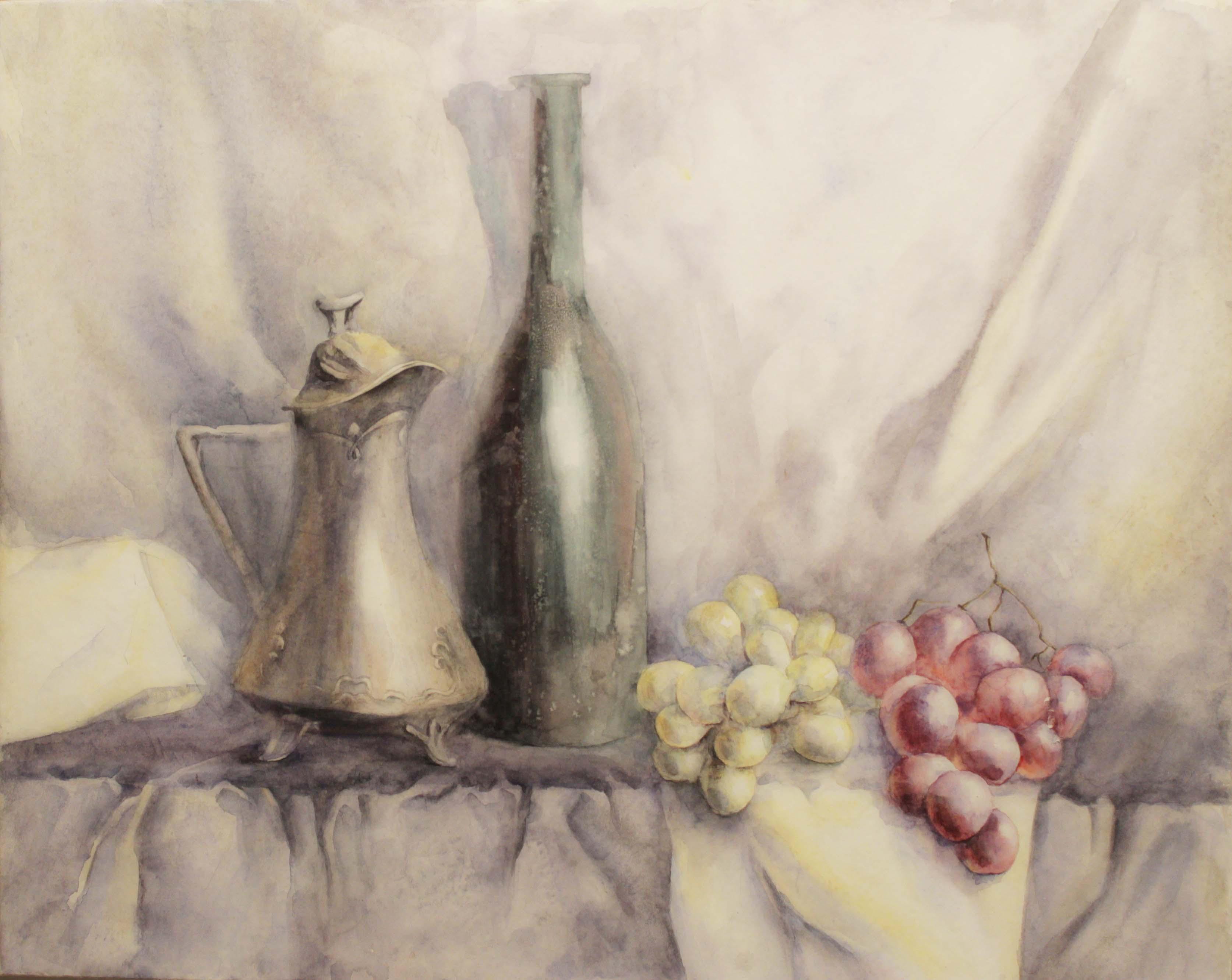 Натюрморт с виноградом (акварель)