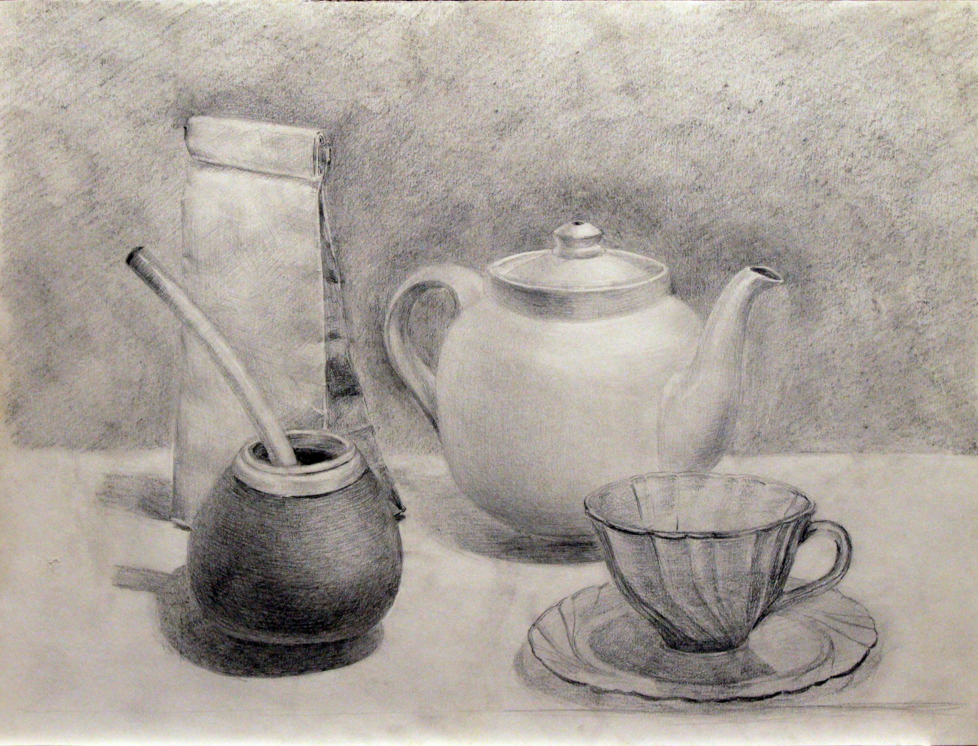 Чайный натюрморт. Бумага, карандаш