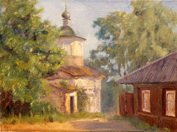 Пейзаж с натуры. Старая церковь