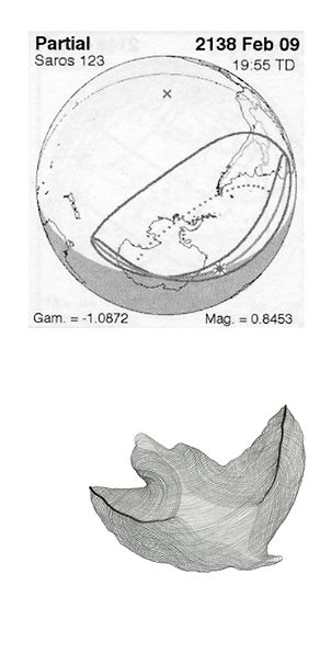 diagram from Five Millennium Canon of Solar Eclipses and a drawing from Lune by Pak Keung Wan