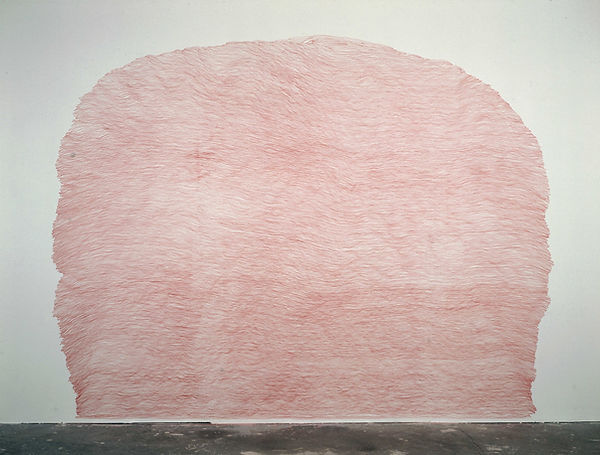 a red pencil drawing on a wall from the series Ascent by Pak-Keung Wan