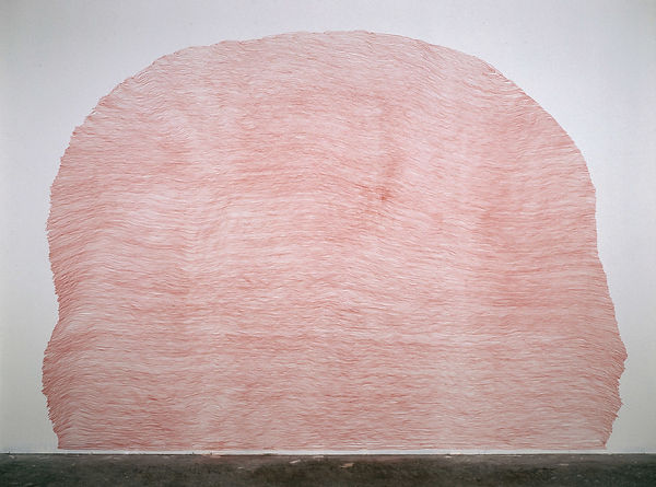 a red pencil drawing a wall from the series Ascent by Pak-Keung Wan