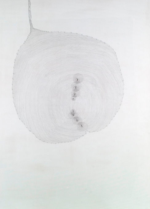 A silverpoint drawing from the series In Papyro by Pak Keung Wan
