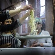 Untangling ramen.  Captured during chef Sachiko Saeki's Ramen Noodle Making class at Harborne Food School
