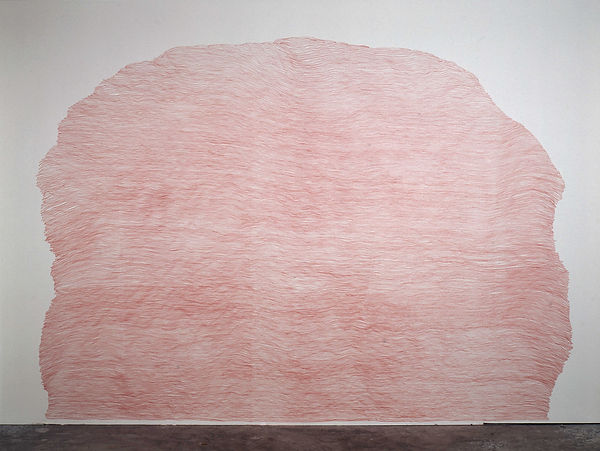 a red pencil drawing on wall from the series Ascent by Pak-Keung Wan