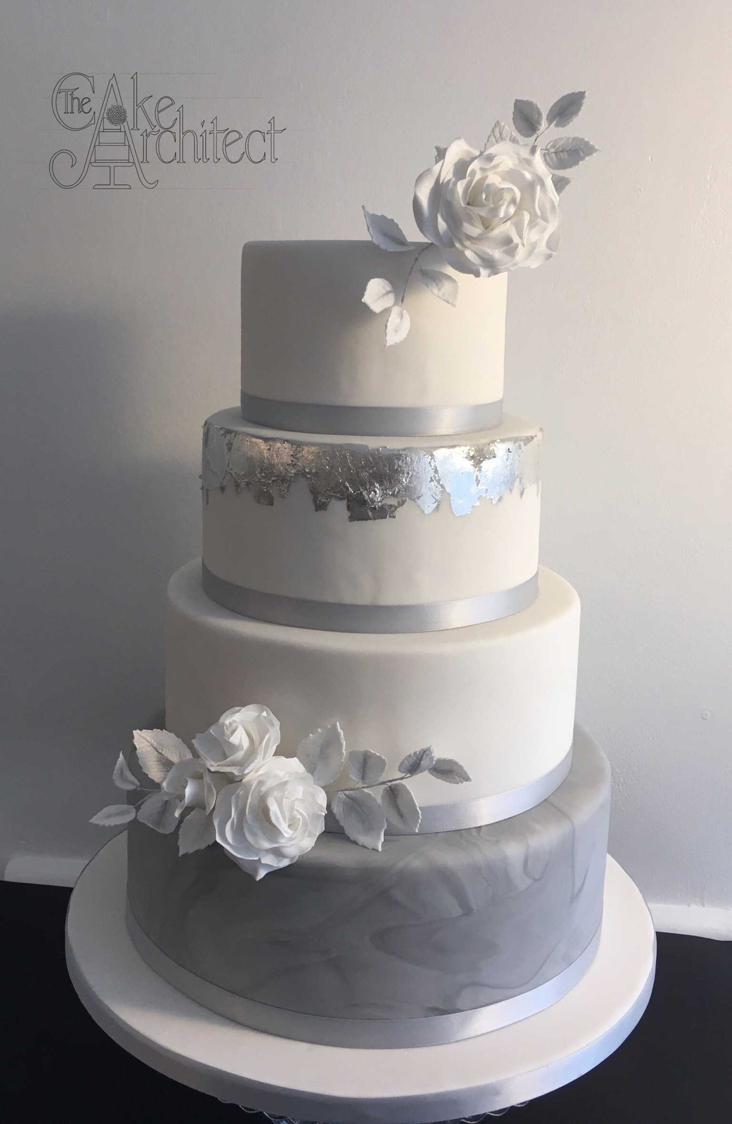Marbled Grey And Silver Wedding Cake