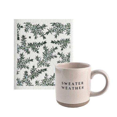 Sweater weather mug & sponge cloth bundle