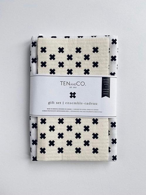 Sponge cloth & tea towel gift set - Tiny X black and white