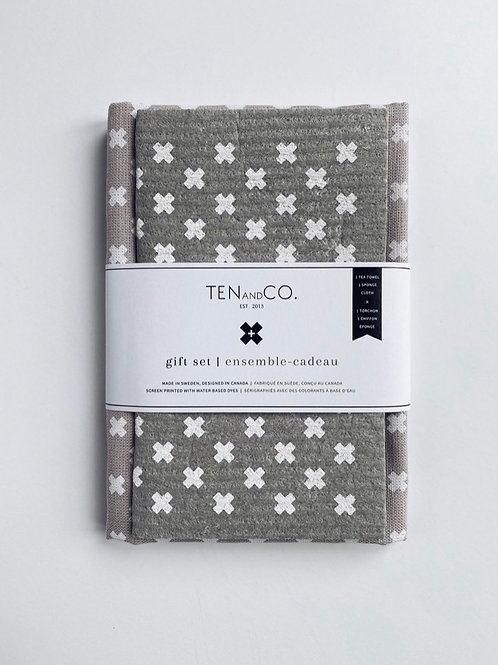 Sponge cloth & tea towel gift set - Tiny X grey and white