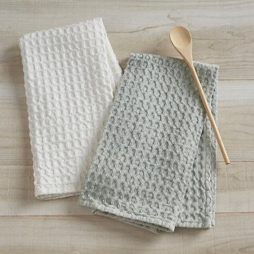 Blue mist waffle tea towel