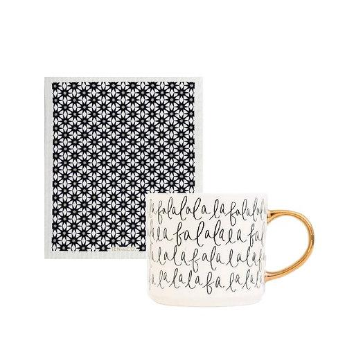 Fa la la mug & sponge cloth bundle