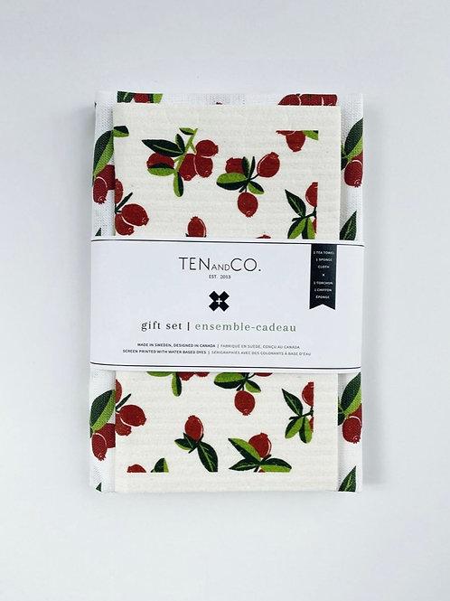 Sponge cloth & tea towel gift set - Cranberry