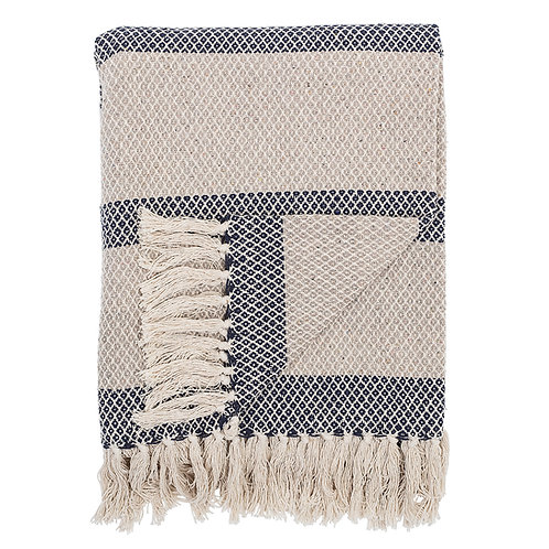Cotton Woven stripe throw with fringe