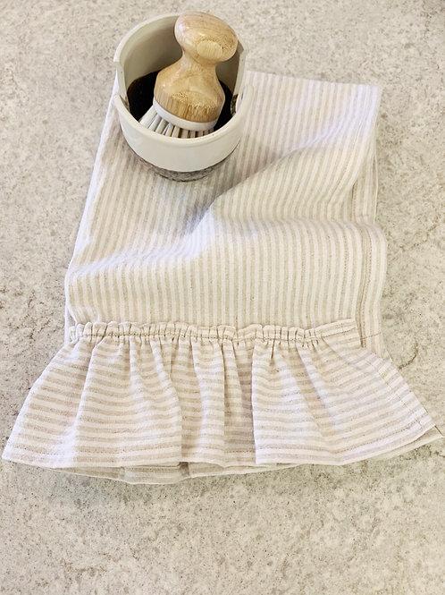Ticking Stripe Ruffle Tea Towel