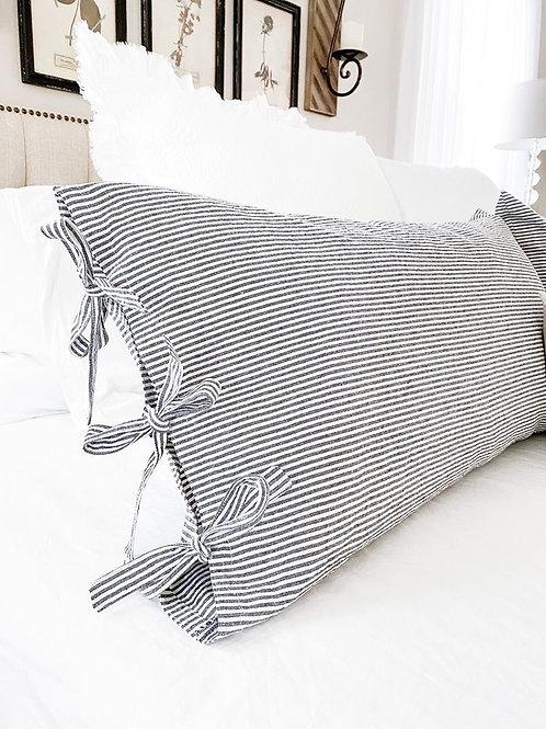 Ticking stripe pillow sham with tie closure
