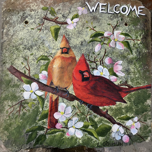 Slate Welcome Sign - Cardinals
