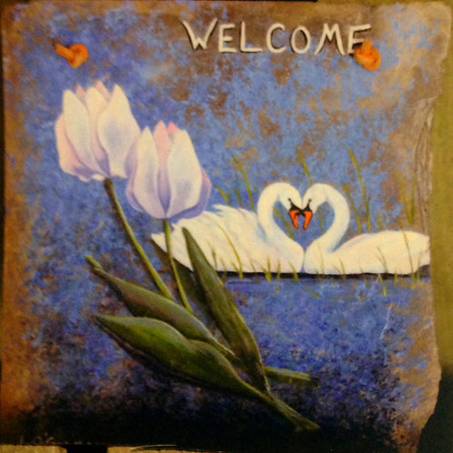 Slate Welcome Sign - Swans