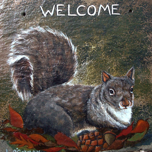 Slate Welcome Sign - Squirrel
