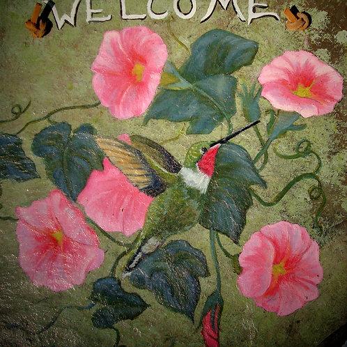Slate Welcome Sign - Hummingbird