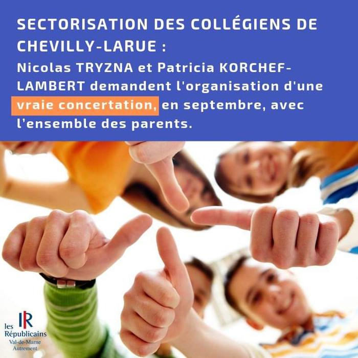 Pour une vraie concertation sur la future sectorisation des collégiens de Chevilly-Larue !