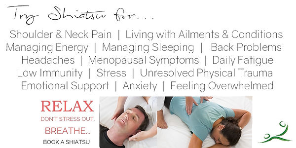 Shiatsu Bodyworks - Cheltenham - Get relief from Shoulder pain, neck tension, fatigue, stress, anxiety, back pain, emotional support, physical trauma recovery, menopause symptom relief
