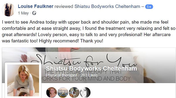 Shiatsu Bodyworks  - Cheltenham - Louise had back pain and shoulder tension relief