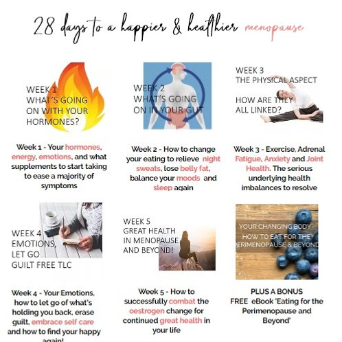28 Days to a Happier and Healthier Menopause - Zoom group + consult deposit only